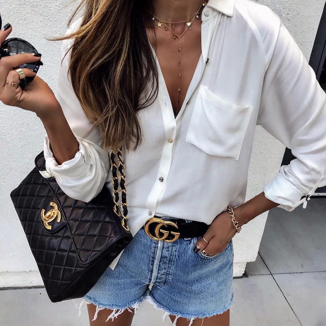 White Silk Shirt Tucked In Wash Denim Shorts For Summer Street Walks 2020