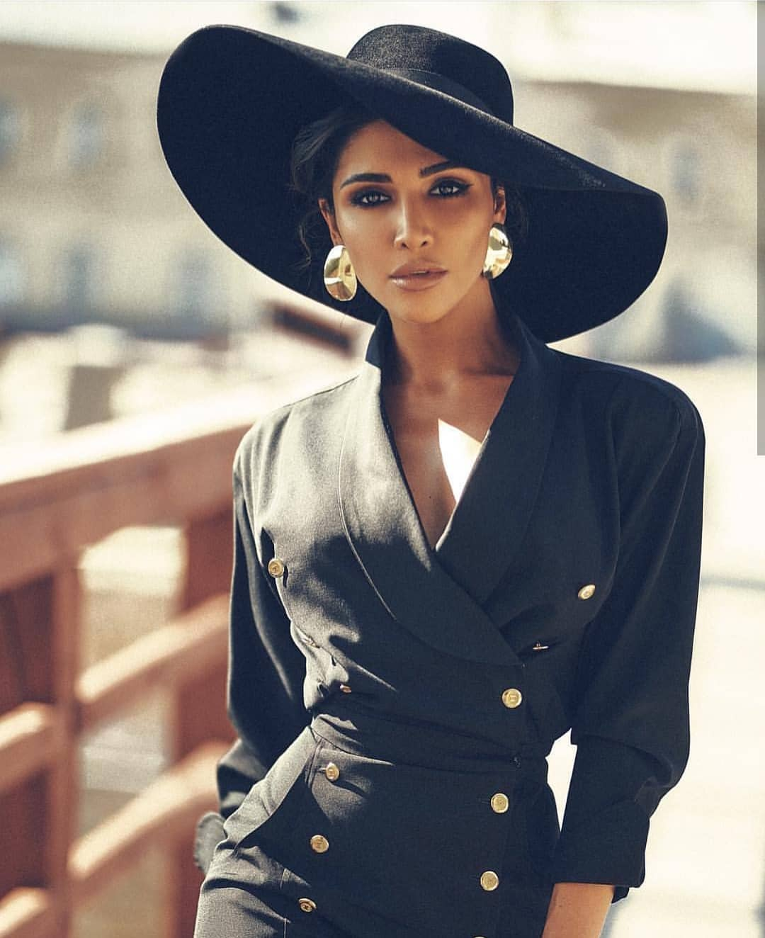 All In Black: Double Breasted Black Coat Dress And Wide-Brim Hat 2020