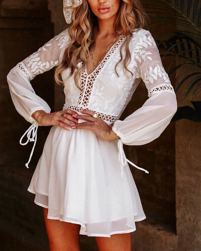 White Peasant Dress With Long Sleeves For Bohemian Summer 2021