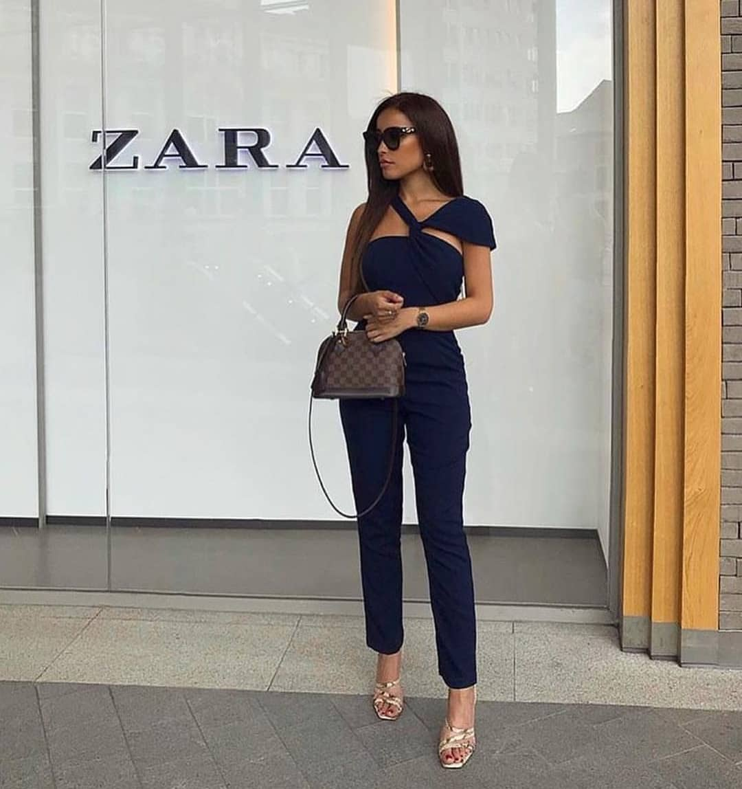 One Shoulder Navy Jumpsuit For Summer Brunches 2020