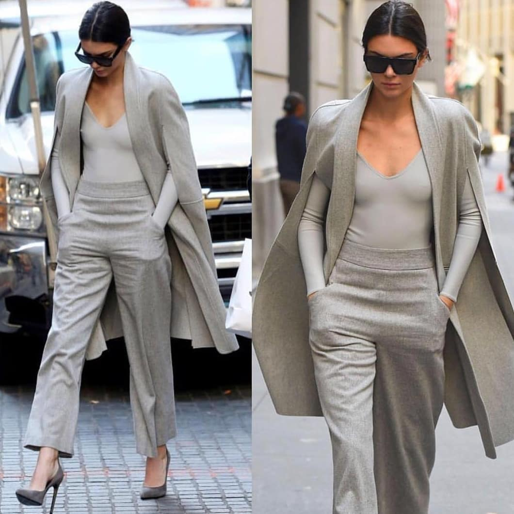 All Grey Look With Coat, Bodysuit And Pants: Monochrome Basics 2020