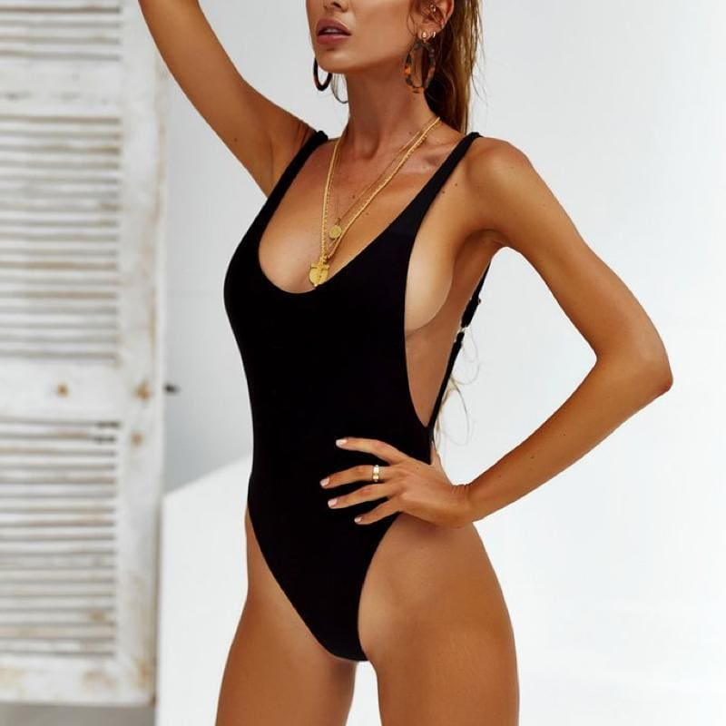 Black One-Piece Swimsuit For Summer Vacation 2019