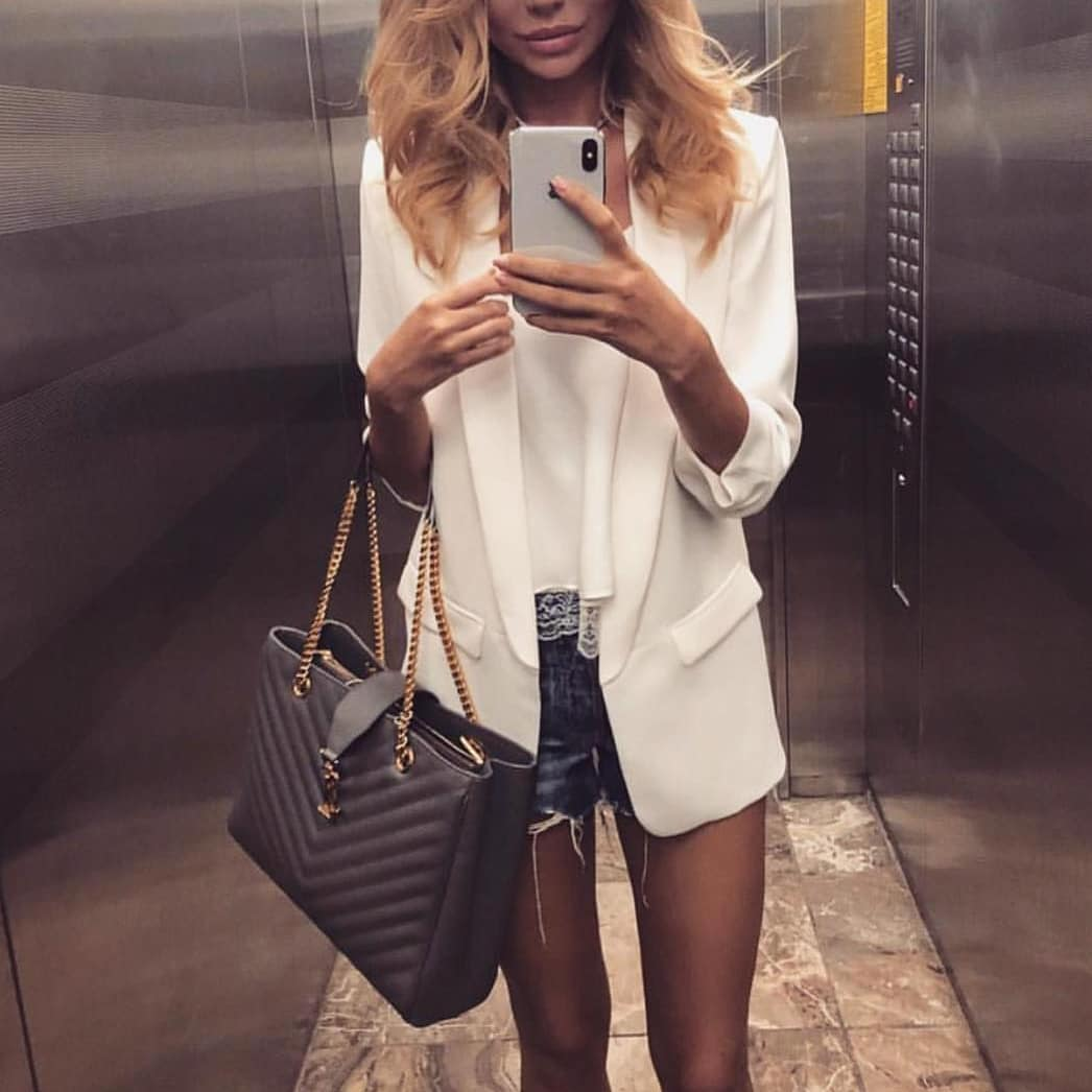 White Long Blazer And Denim Shorts For Summer Casual Street Walks 2020
