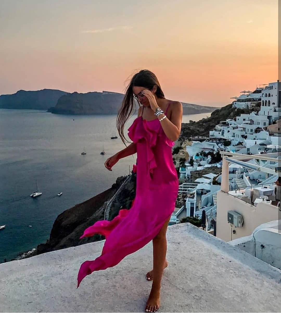 Fuchsia Purple Silk Dress For Santorini Summer Trip 2020