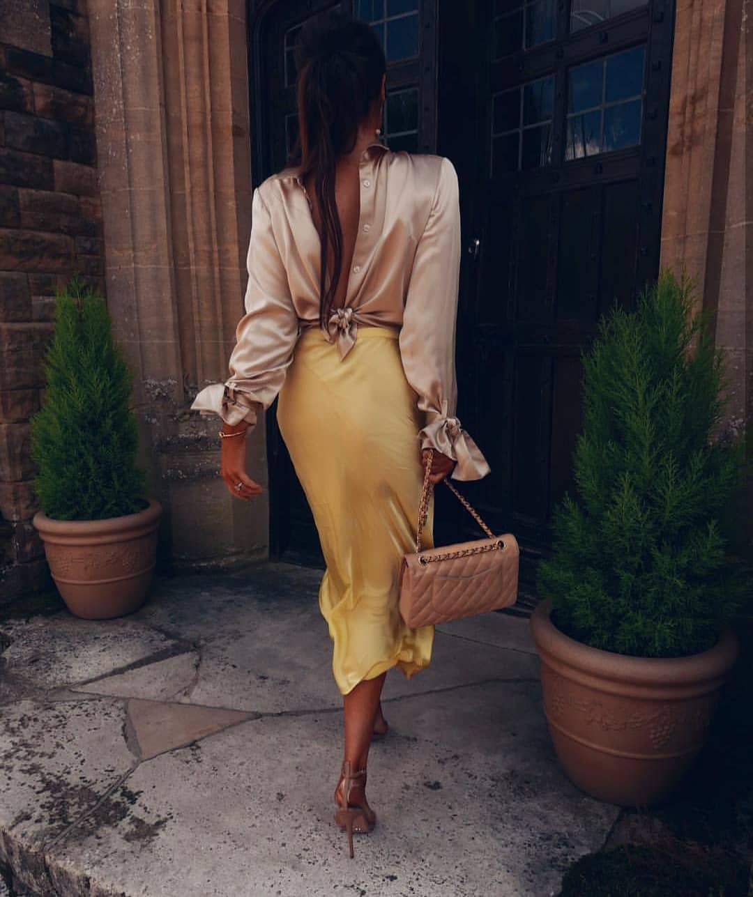 Open Back Dress Shirt And Pale Gold Yellow Midi Skirt 2019