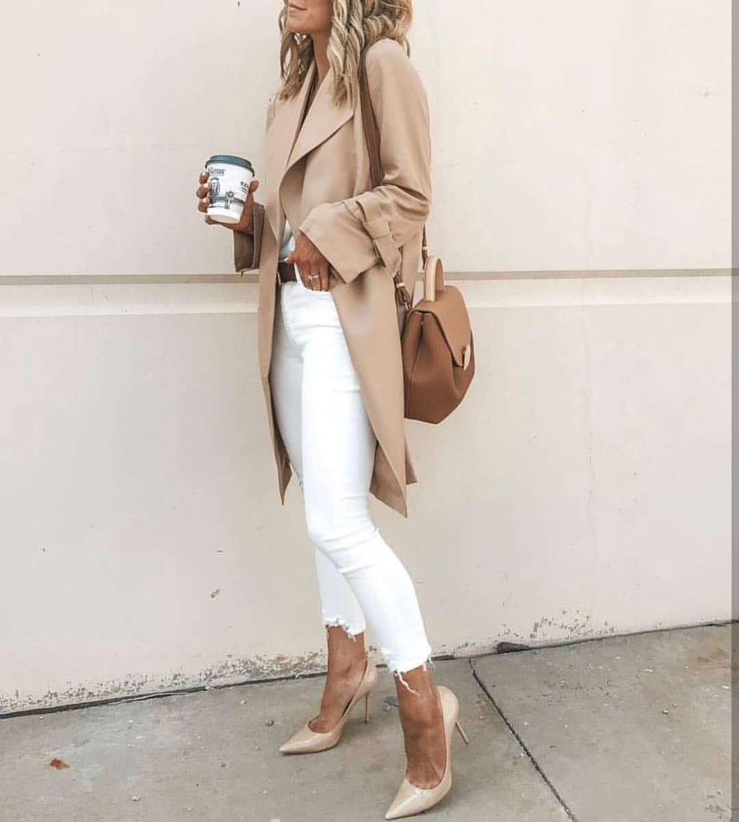 Beige Trench Coat With White Skinny Jeans And Nude Heeled Pumps For Spring 2020