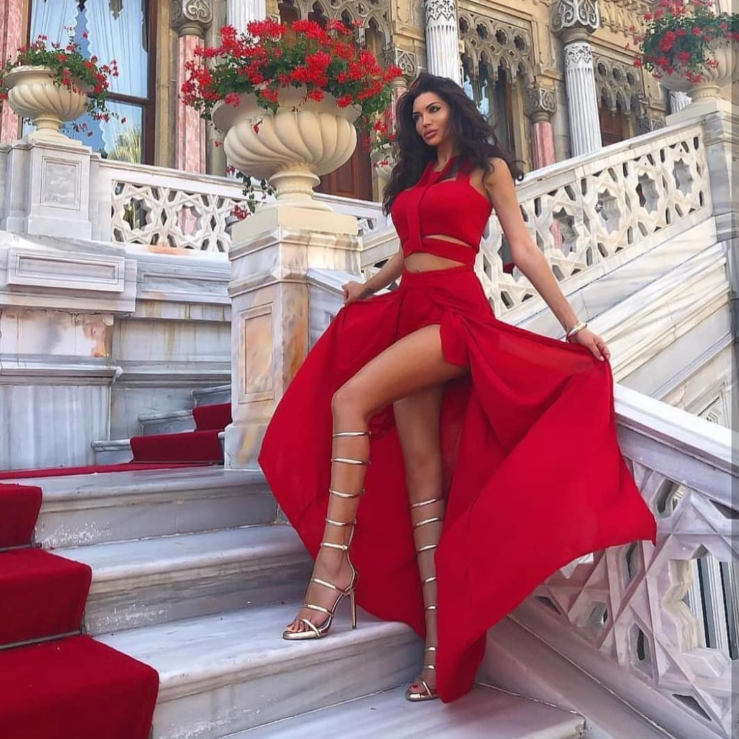 Two Piece Maxi Dress In Red Color For Special Summer Events 2020