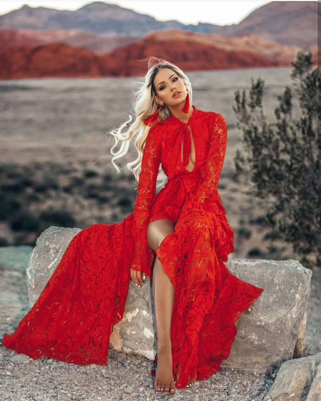 Lace Maxi Dress In Red For Special Summer Events 2019