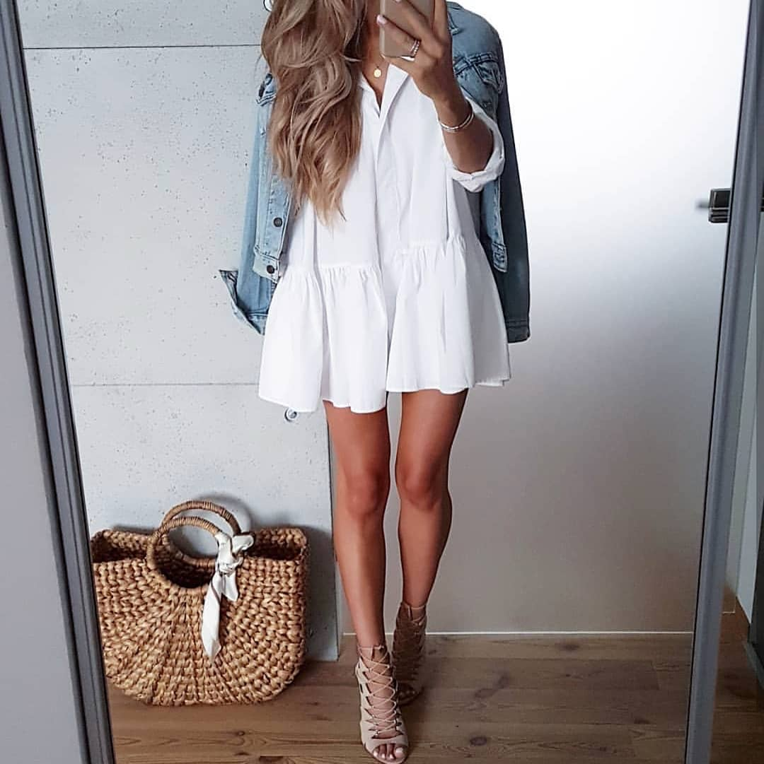 Simple Casual Style: White Peasant Dress, Denim Jacket And Strappy Sandals 2019
