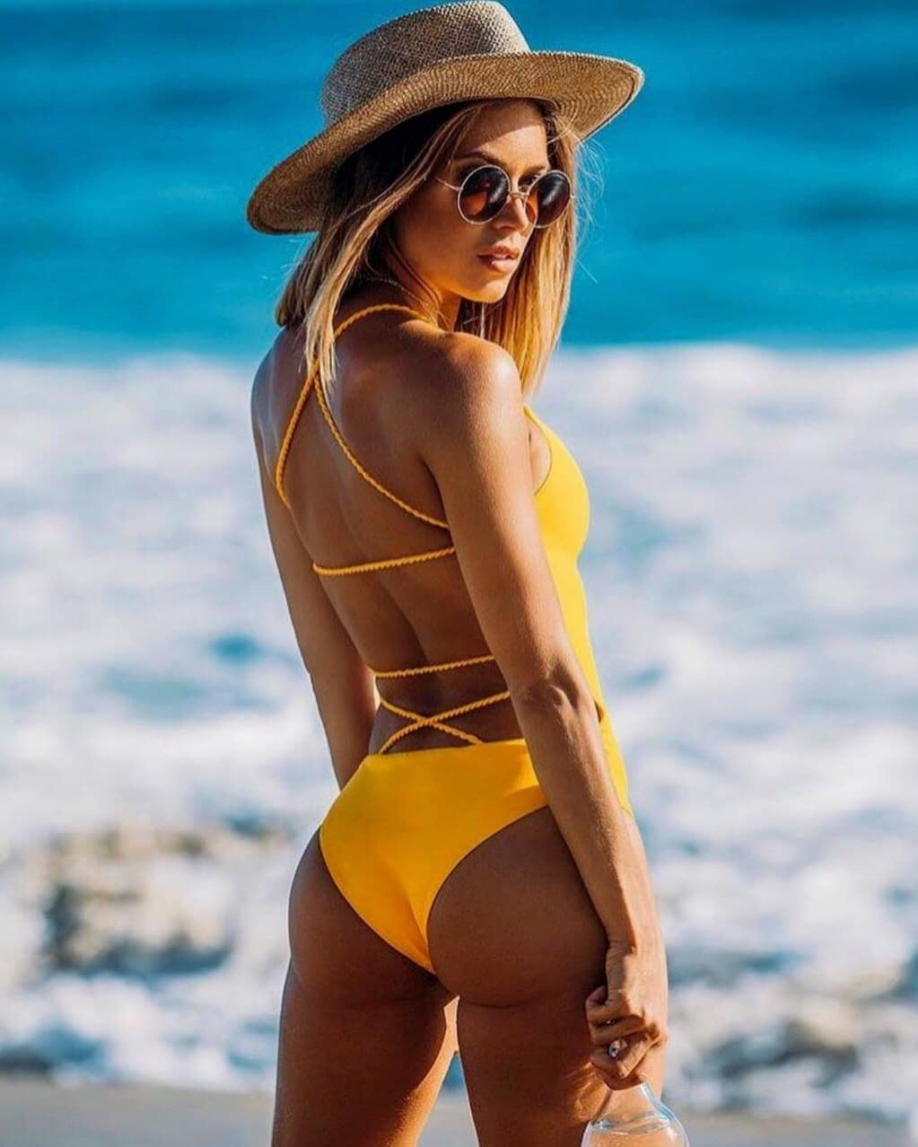 Bright Yellow Swimsuit With Spaghetti Straps For Summer Vacation 2020