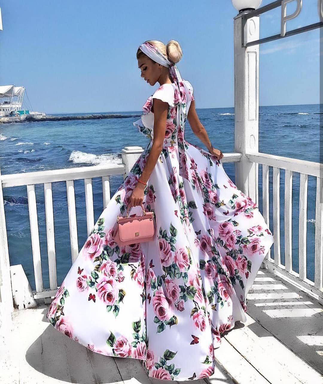 Maxi White Dress In Roses Print For Fabulous Summer Vacation 2019