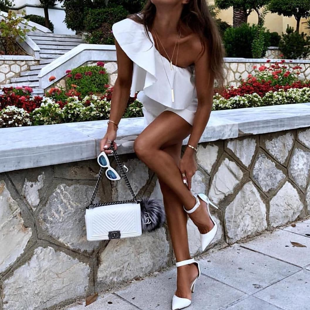 All White Look For Summer: One Shoulder Dress And Ankle Strap Heeled Pumps 2019