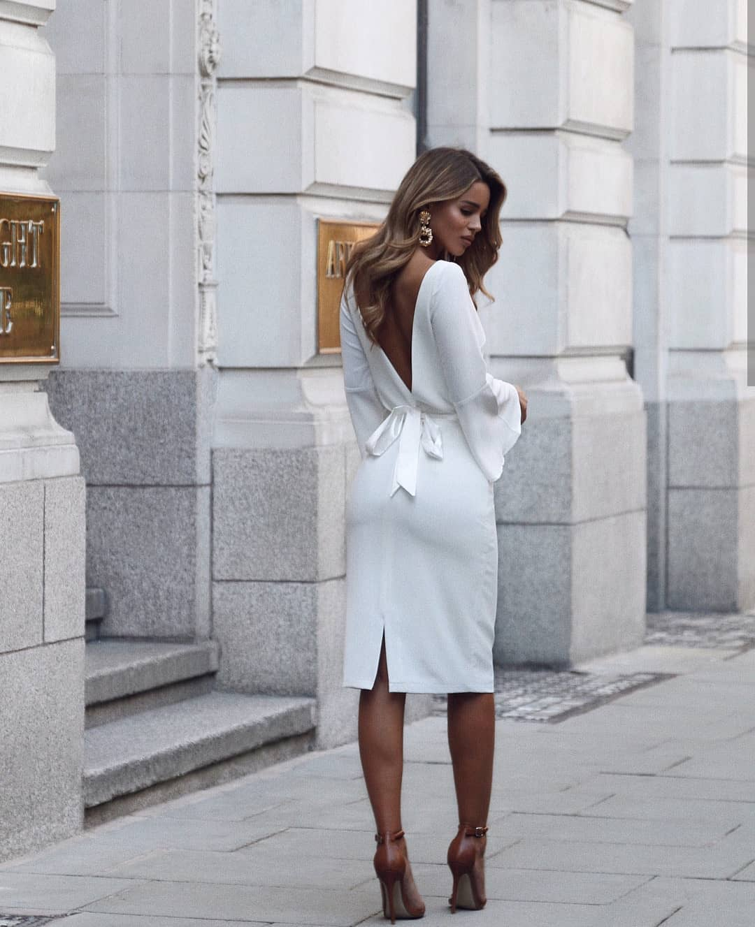White Dress With Open V-Back And Brown Heeled Sandals For Summer 2019