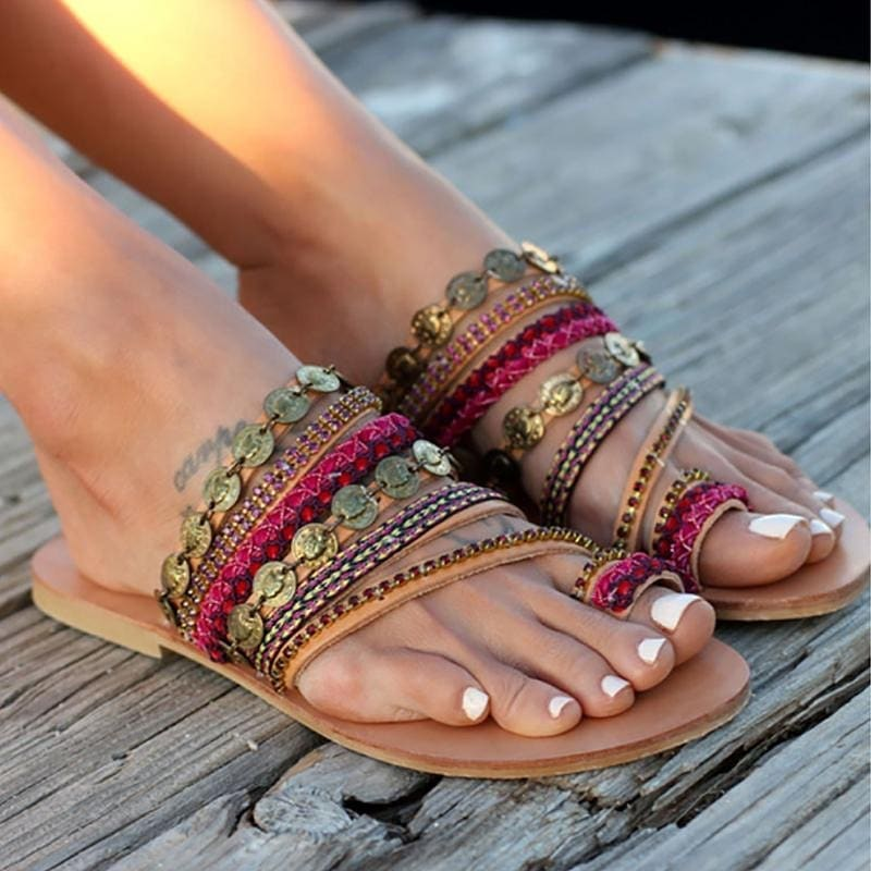 Metallic Chain Strappy Flat Sandals For Summer Trips And Vacation 2020