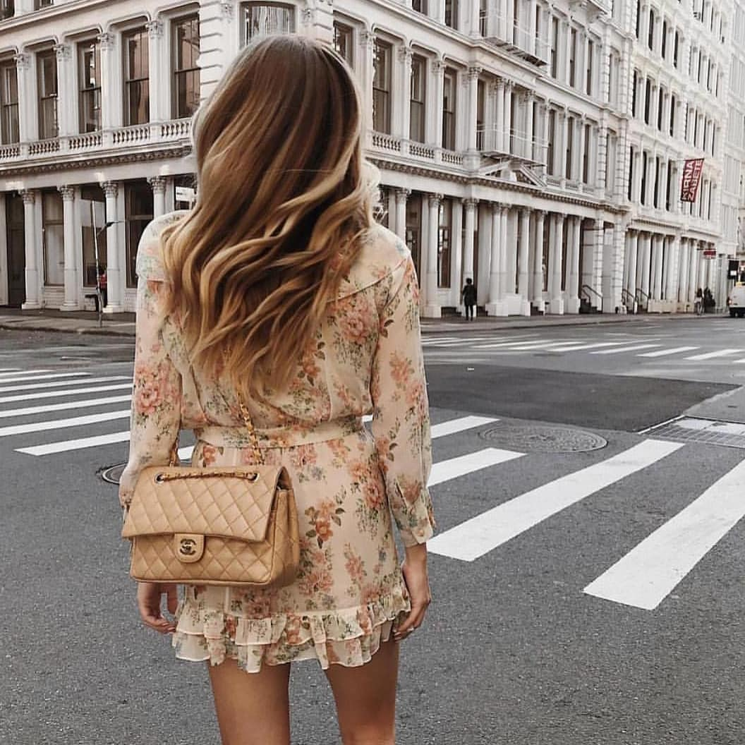 Cream Beige Floral Dress With Long Sleeves For Summer Mornings 2019