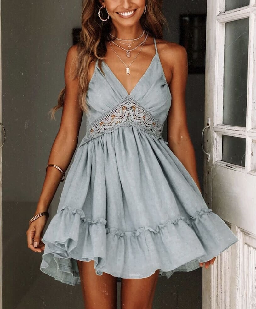 Grey Blue V-neck Peasant Dress With Spaghetti Straps And Lace Insert For Summer 2019