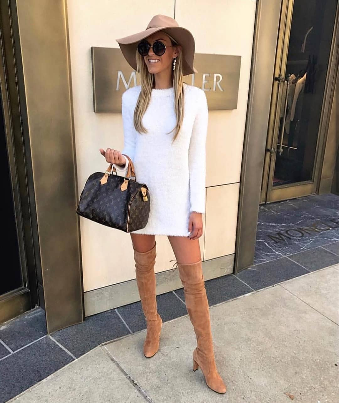 Long Sleeve White Sweater Dress And Suede Camel OTK Boots For Spring 2020