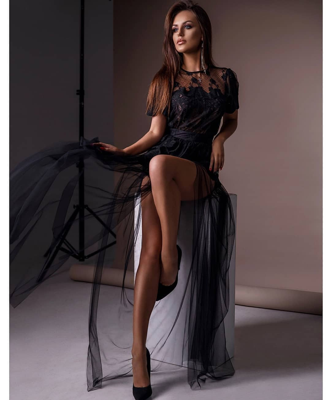 Maxi Dress In Black Sheer Veil For Summer Special Open Air Parties 2019