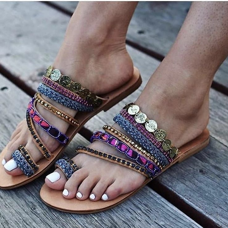 Embroidered Flat Sandals For Summer 2019