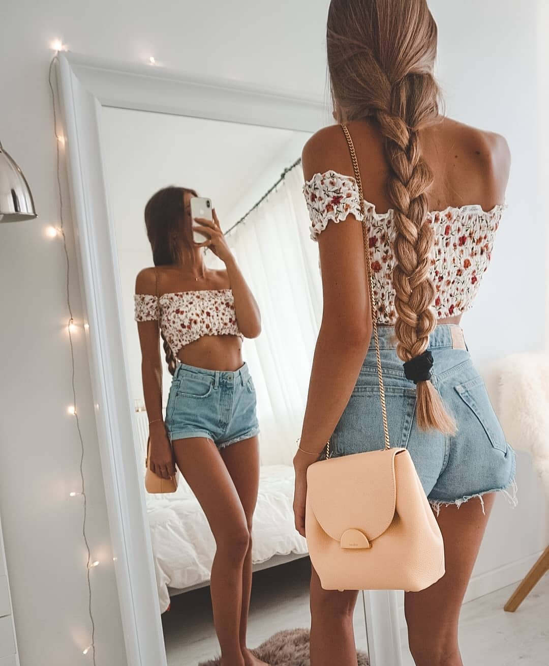 Off Shoulder Crop Top In Floral Print With Blue Denim Shorts For Summer 2019