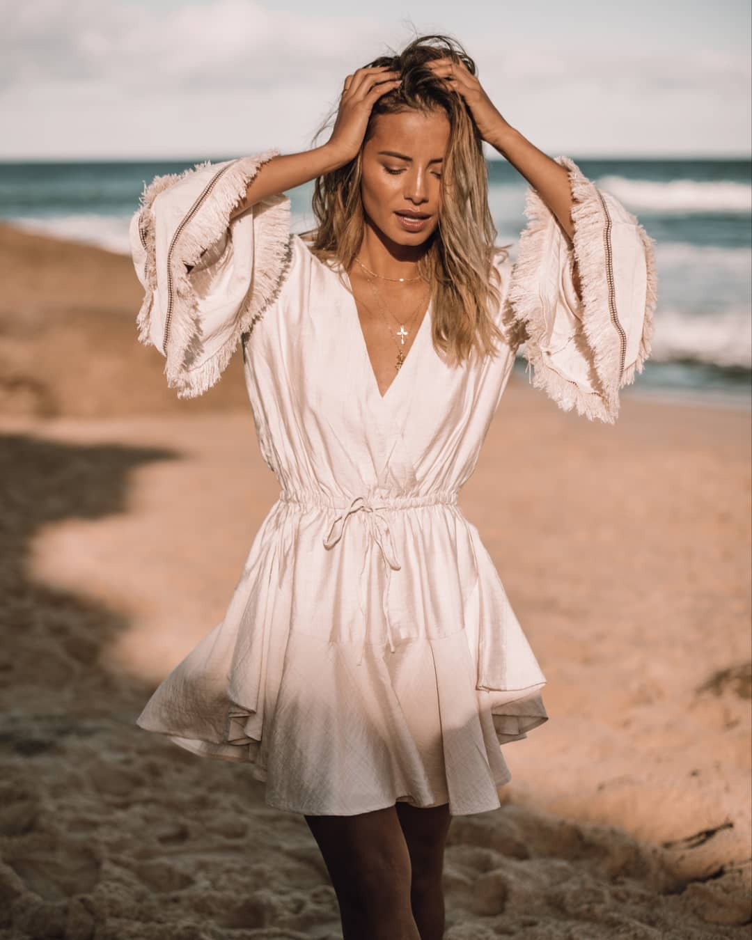 Pastel Mini Robe Dress With Wide Sleeves For Summer Beach Walks 2019