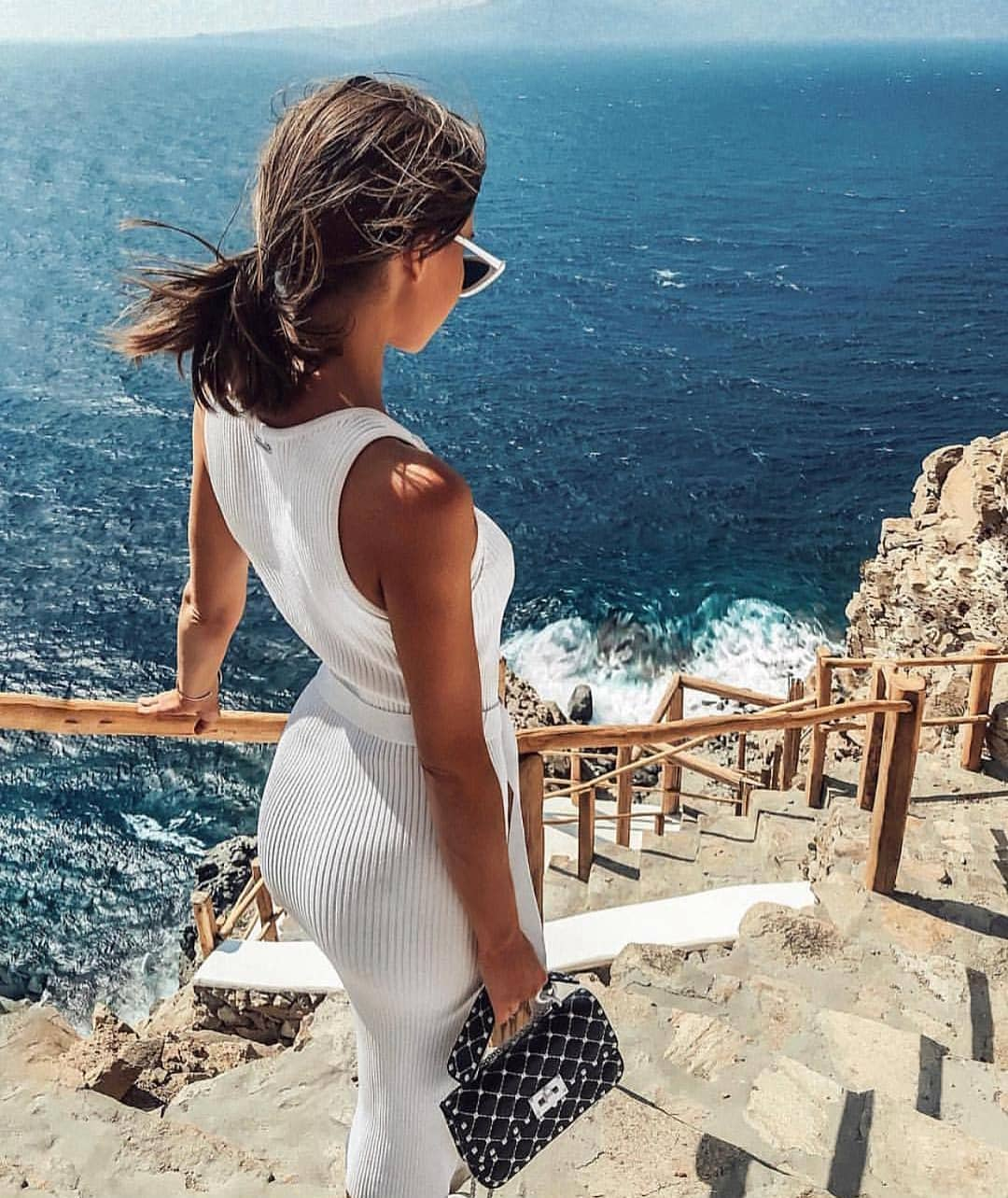 White Sleeveless Knitted Dress For Summer Trips 2020