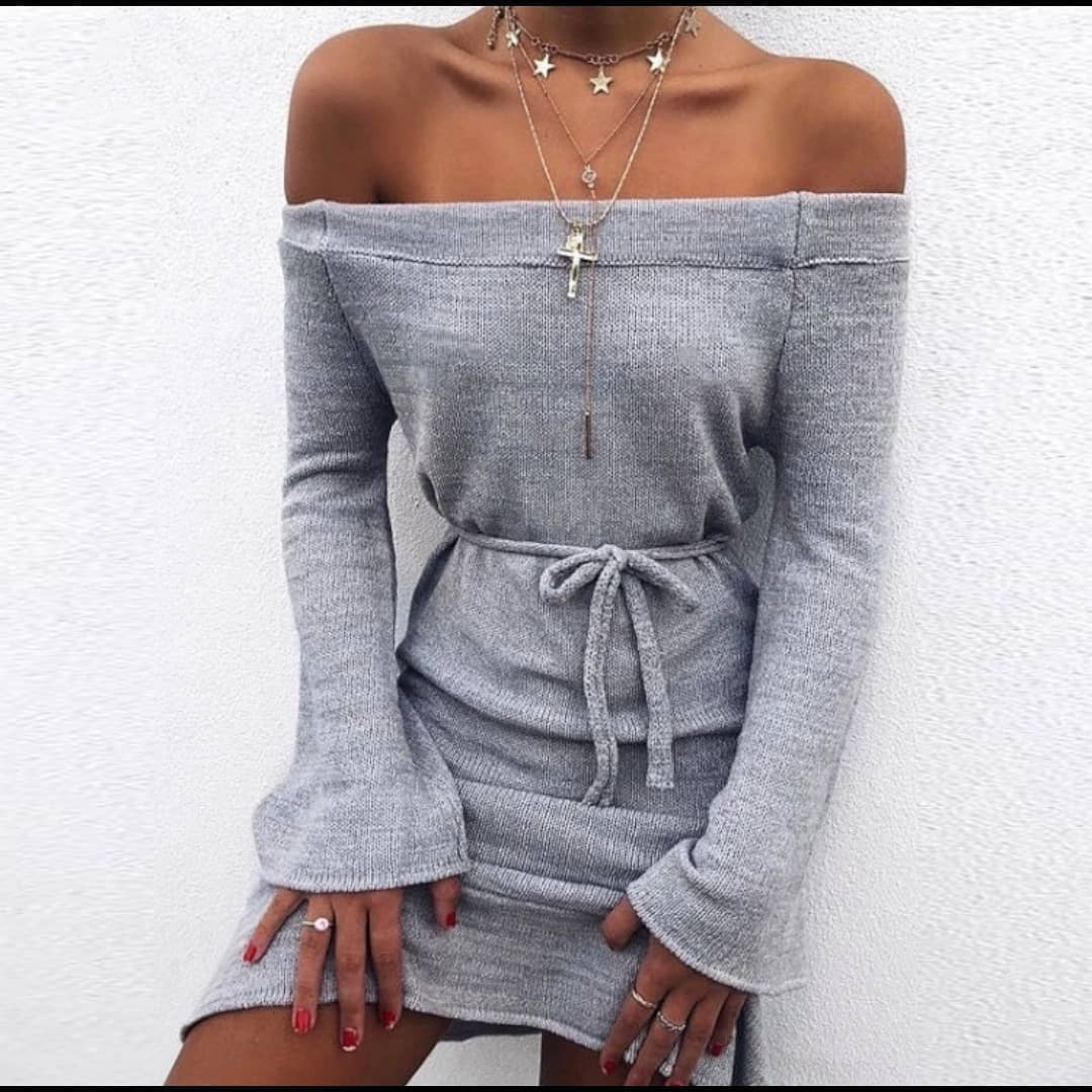 Off Shoulder Long Sleeve Knitted Dress In Grey For Casual Parties 2021