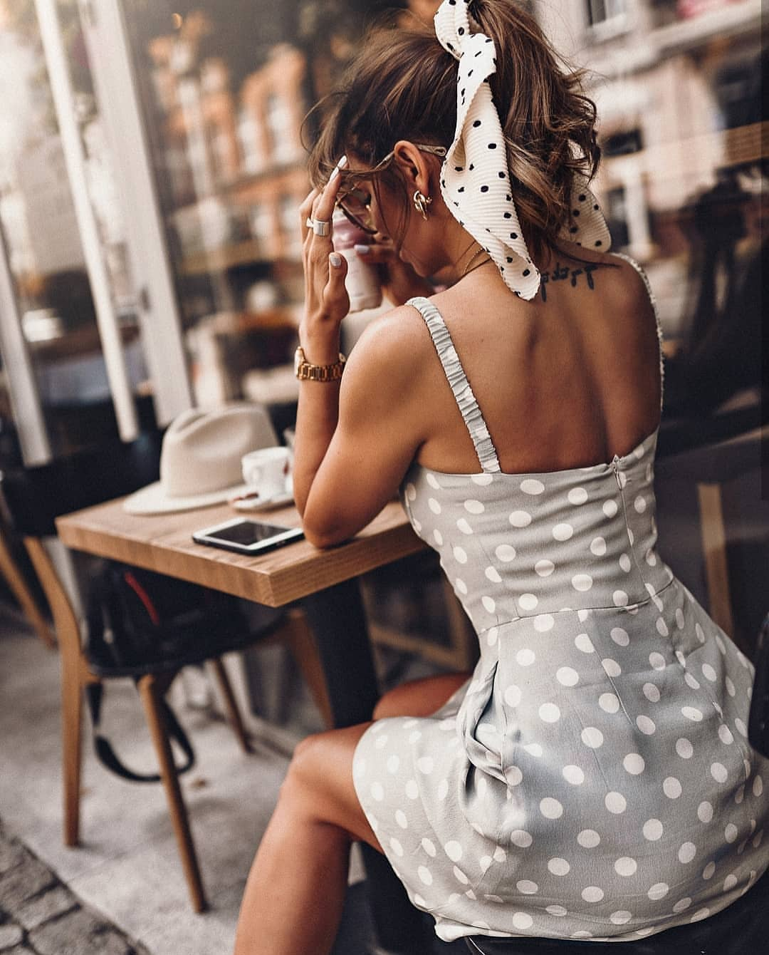Light Grey Pencil Dress In White Polka Dots For Summer City Days 2019