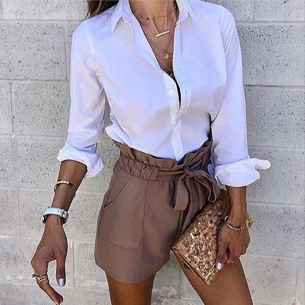 Khaki Gathered Shorts And White Shirt For Summer 2019