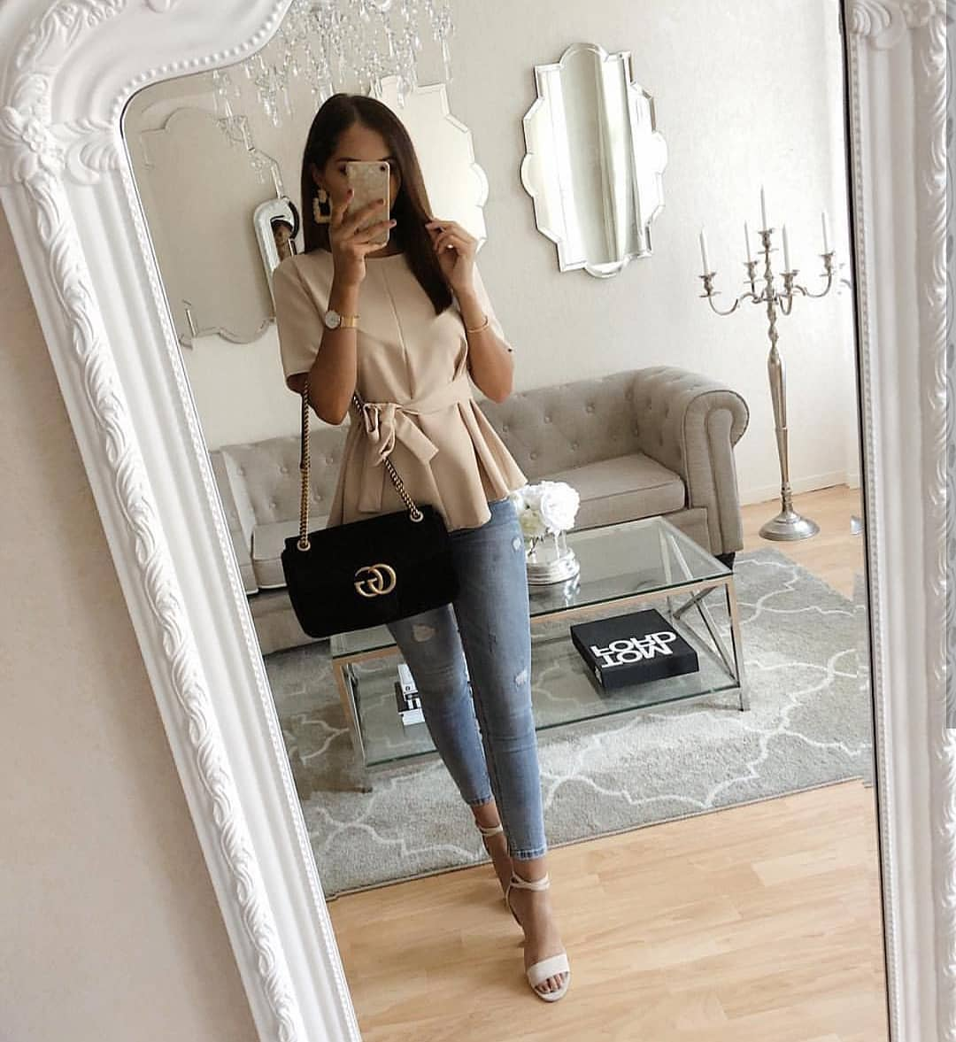 Beige Peplum Flared Blouse And Wash Blue Skinny Jeans For Summer 2019