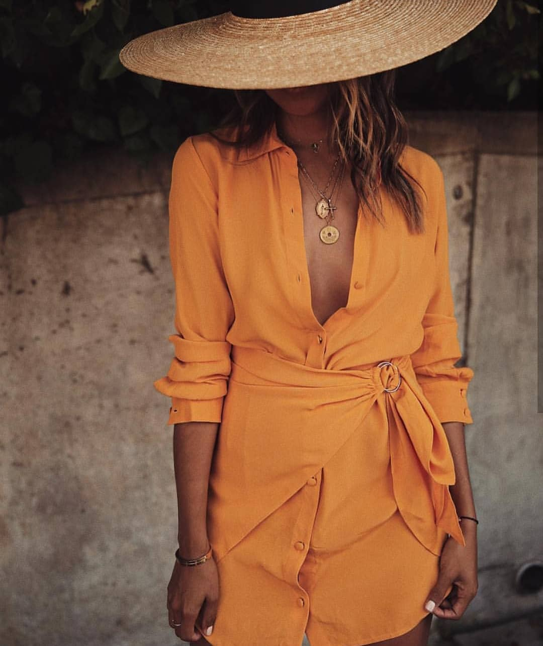 Wrap Shirtdress In Orange-Yellow For Summer Vacation 2020