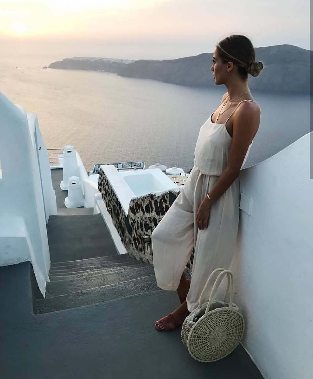 White Linen Jumpsuit With Spaghetti Straps For Summer Santorini Trip 2020