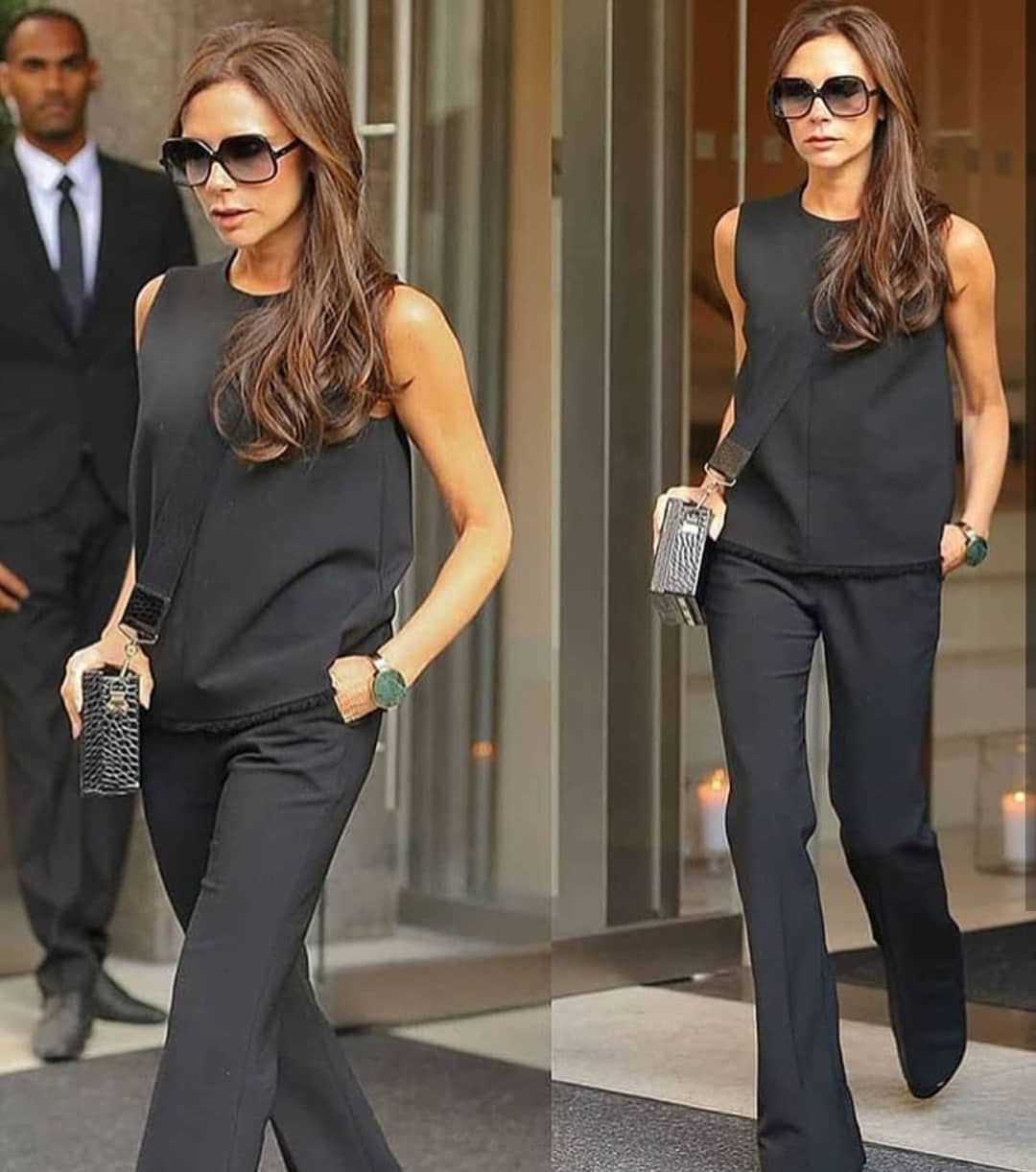All In Black Outfit Idea: Sleeveless Top And Flared Pants With Oversized Shades 2020