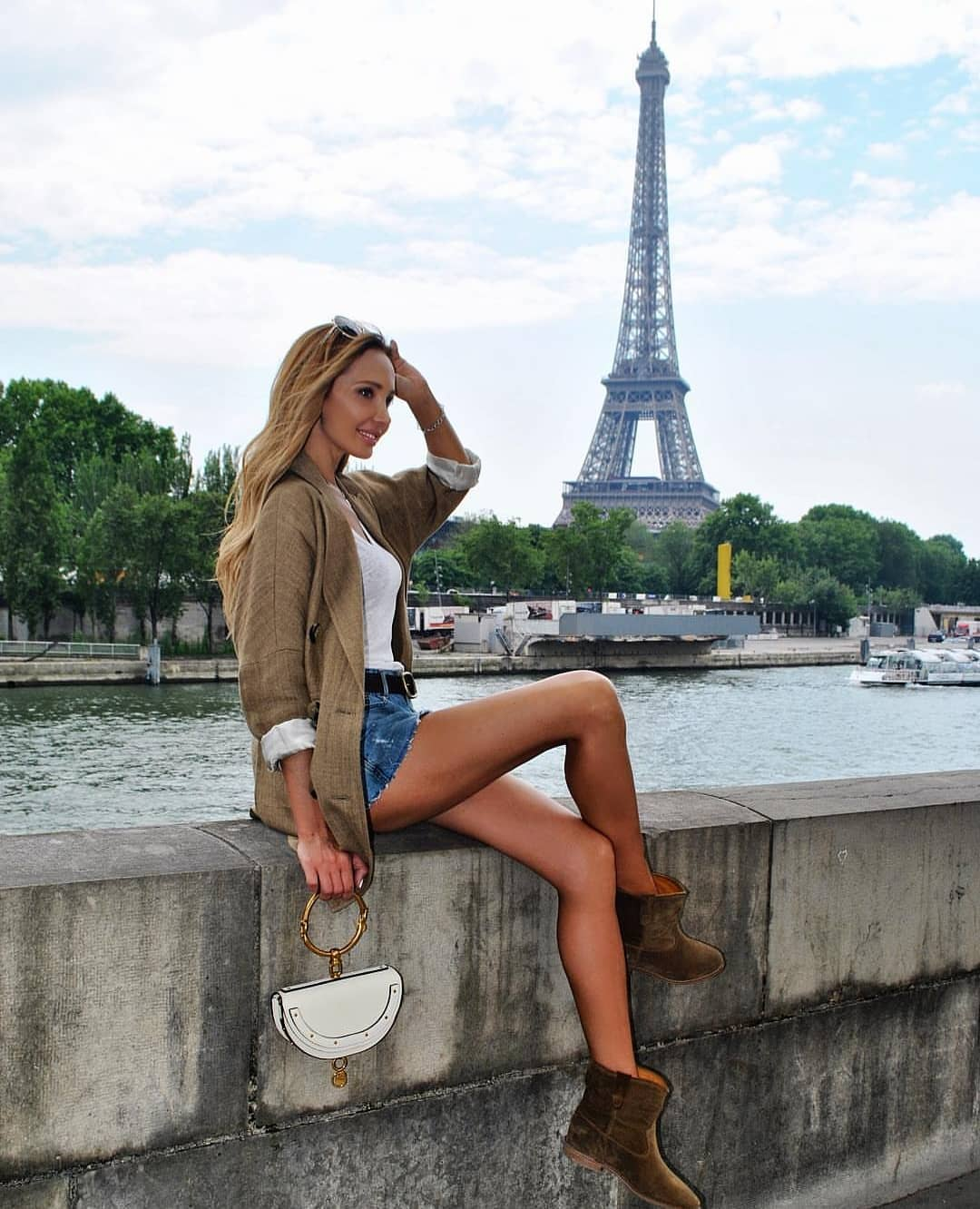 Beige-Brown Blazer With Blue Denim Shorts And Ankle Boots For Spring In Paris 2019