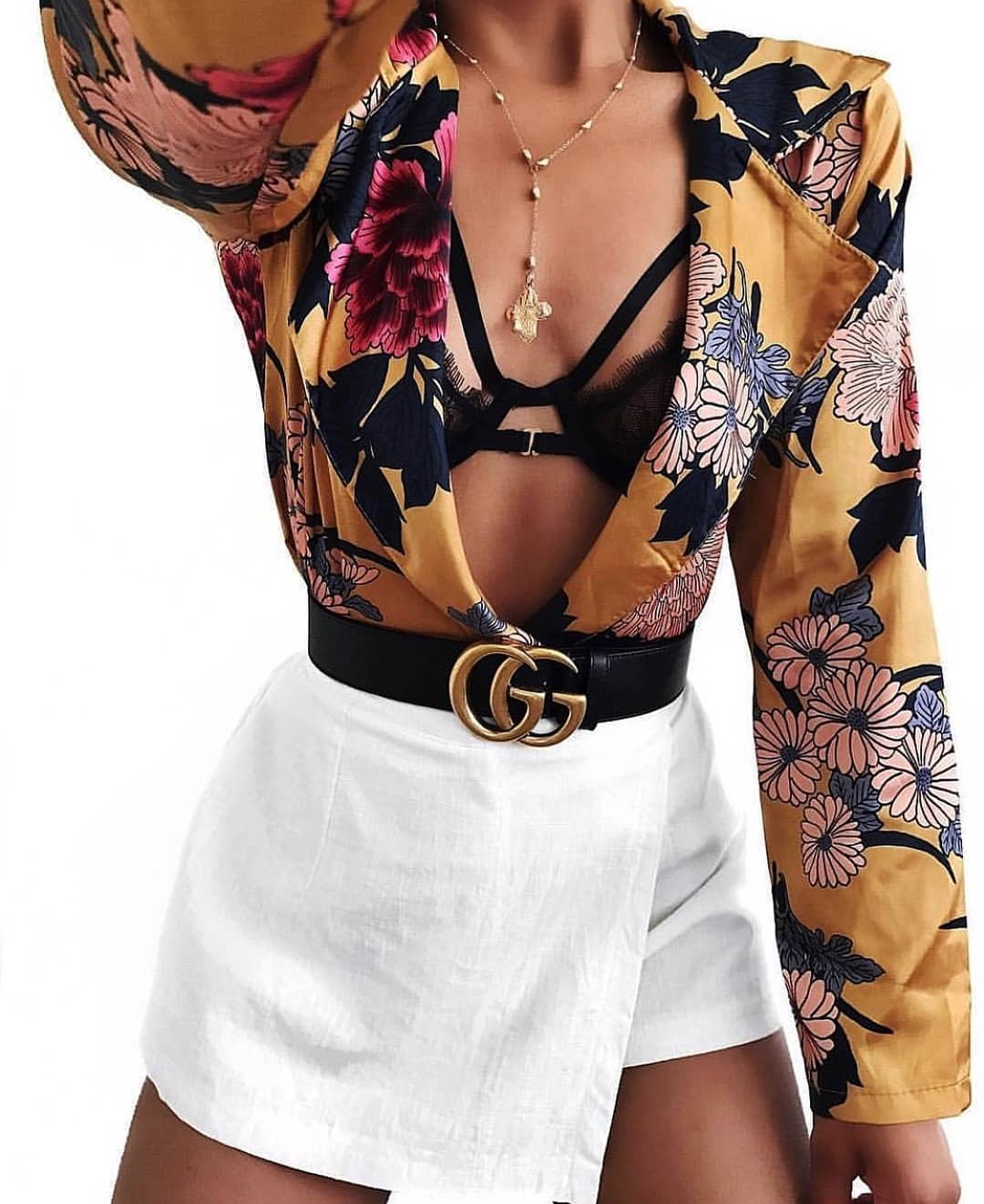 Floral Print Blazer Blouse With Cut Out Bra Top And Wrap Mini Skirt In White 2019