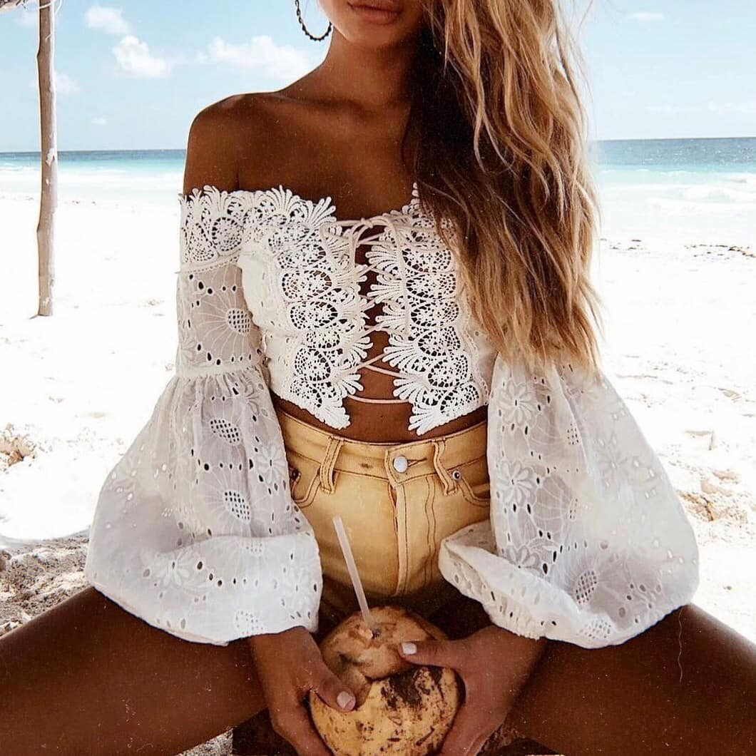 White Boho Lace Crop Top Puffy Sleeves And Safari Shorts For Summer 2019