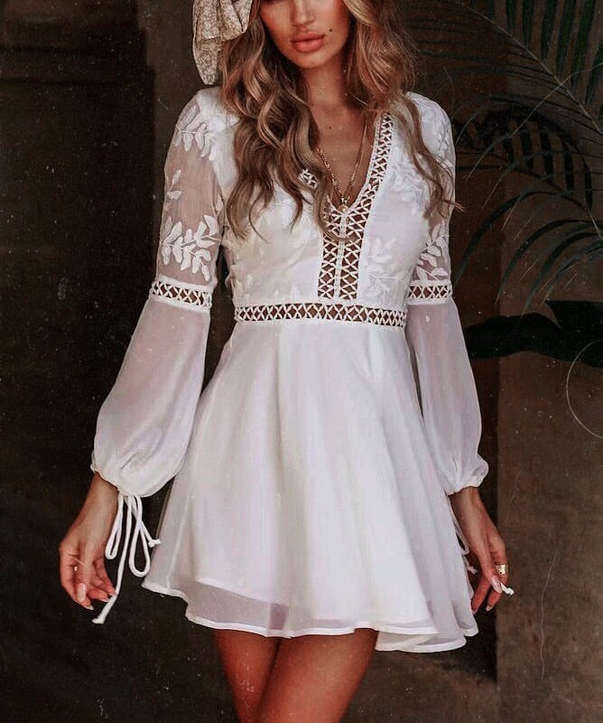 White Peasant Dress With See-Through Detailing For Summer 2019