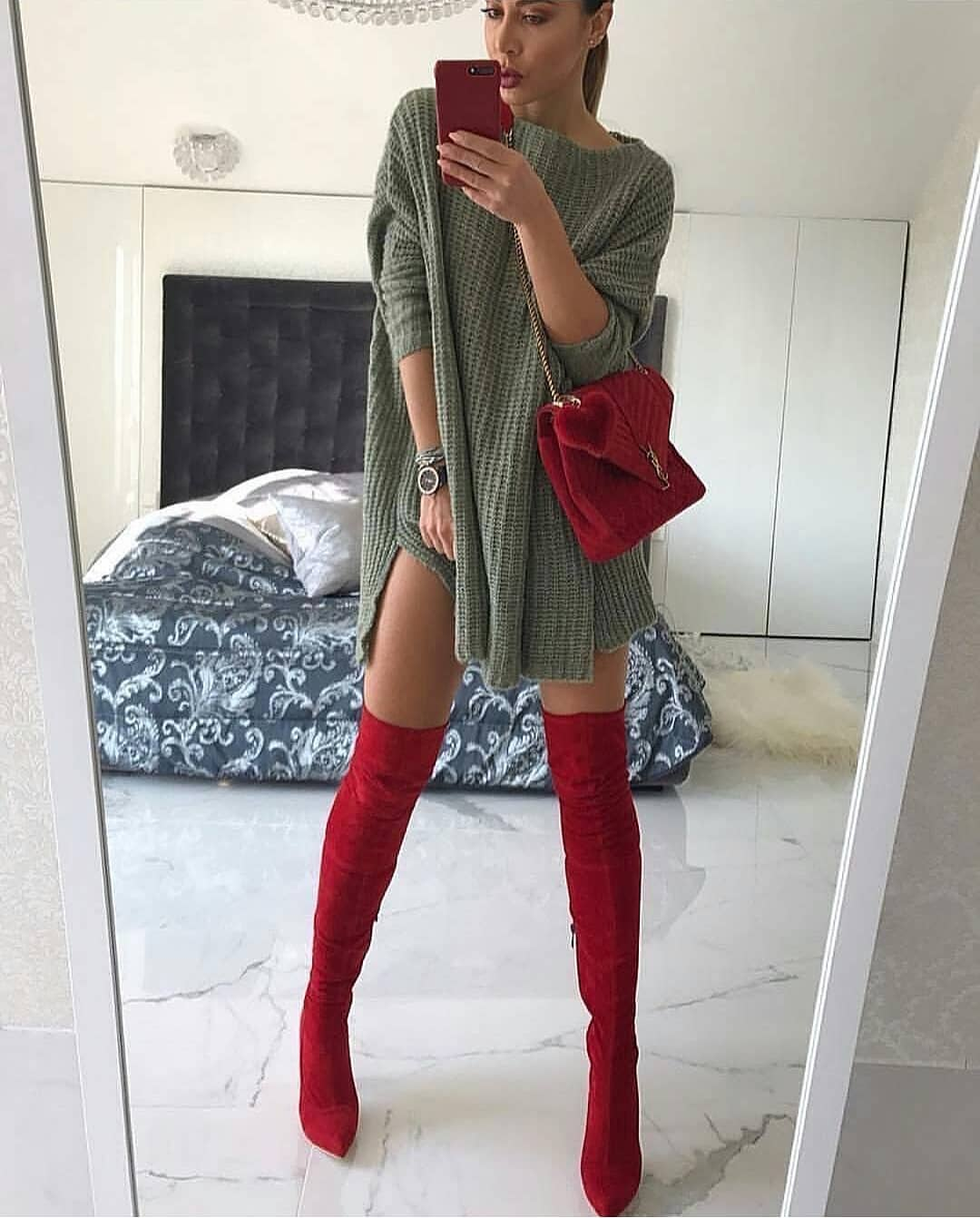 Khaki Green Sweater Dress And Red Suede OTK Boots For Spring 2020