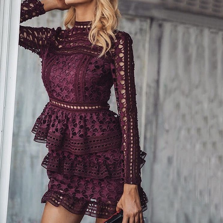 Maroon Crochet Perforated Peplum Dress For Summer Parties 2019