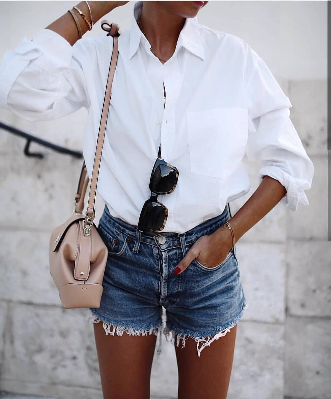 White Shirt And Blue Denim Shorts For Summer 2019