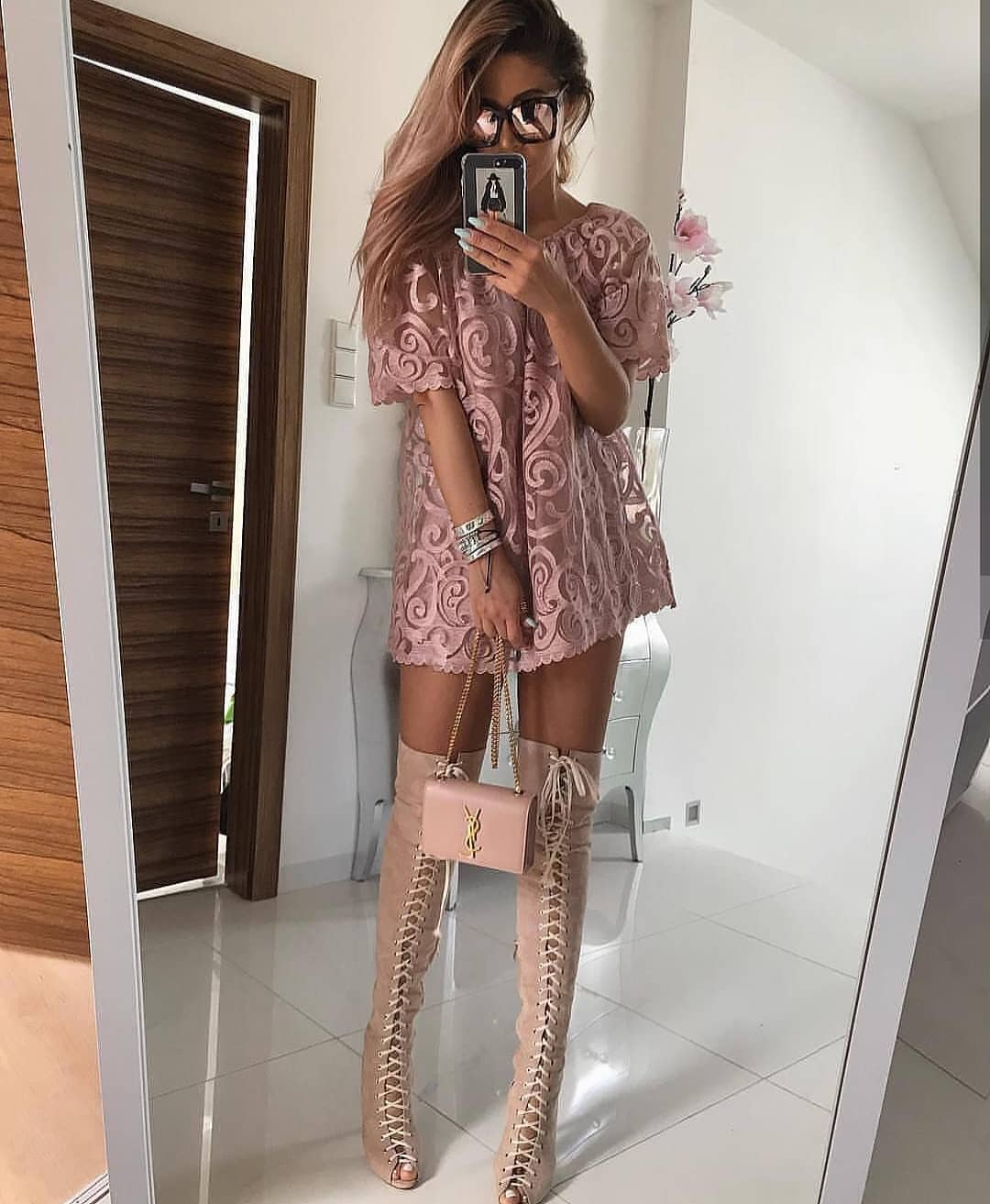 Blush Lace Dress With OTK Lace-Up Boots For Summer 2020