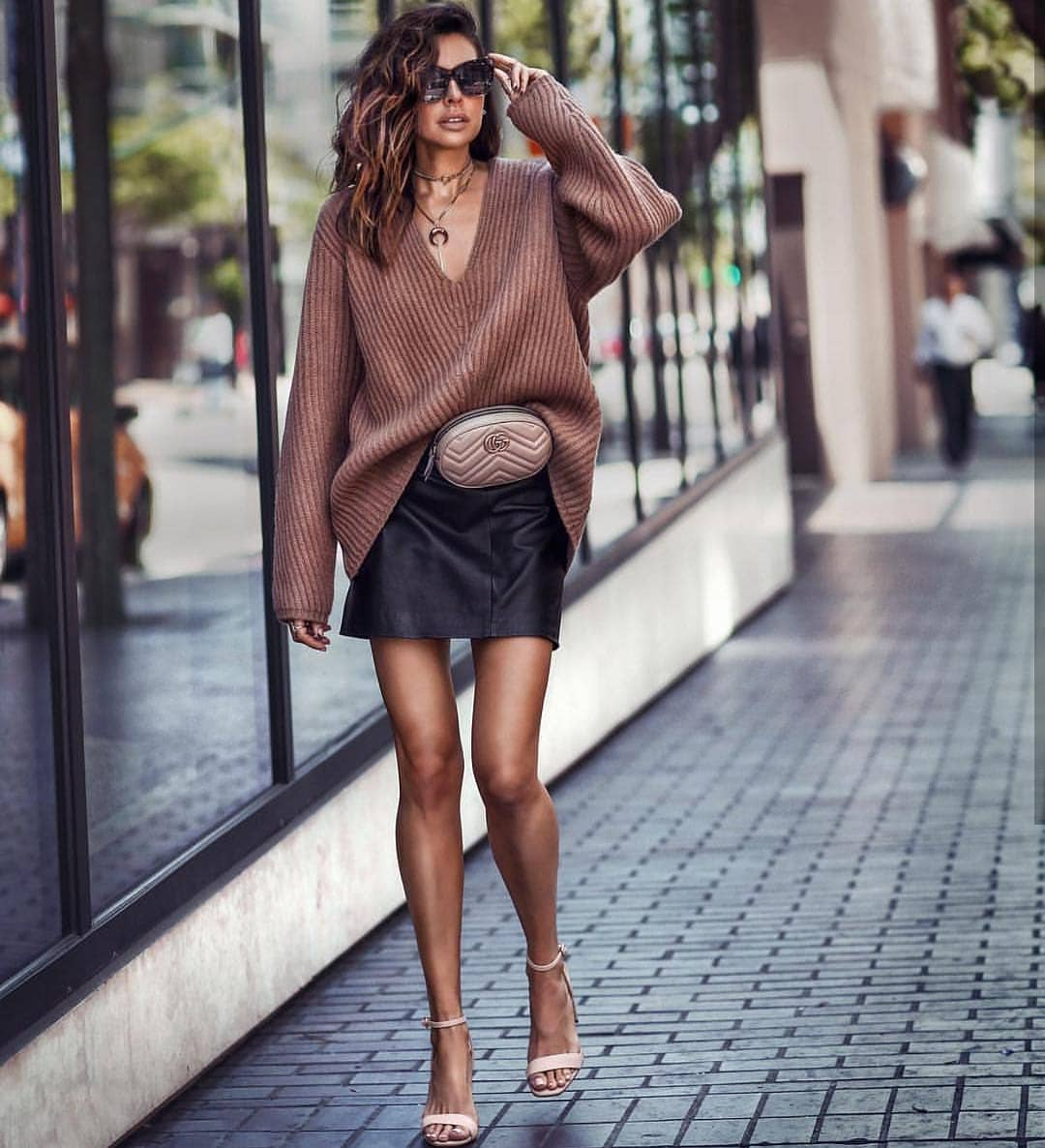 Oversized V-neck Sweater And Black Leather Skirt For Summer 2020