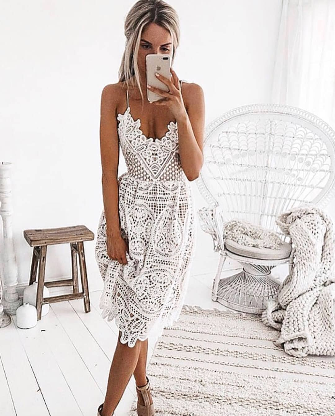 Spaghetti Strap White Crochet Dress For Summer Boho Parties 2019
