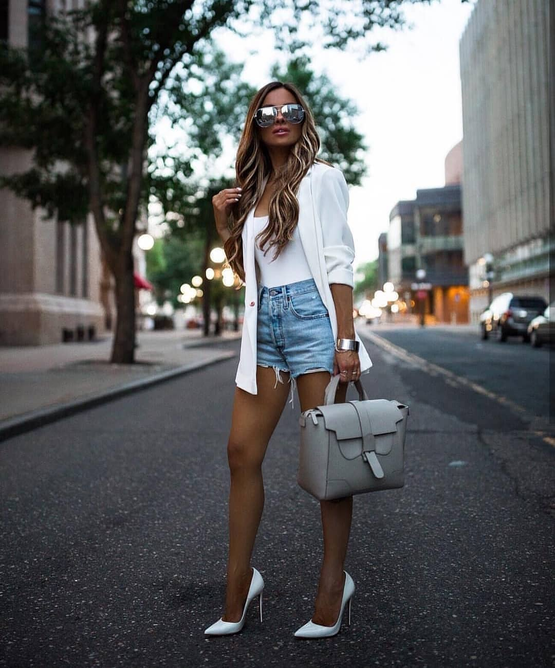 White Blazer And Blue Denim Shorts Summer Basics 2019