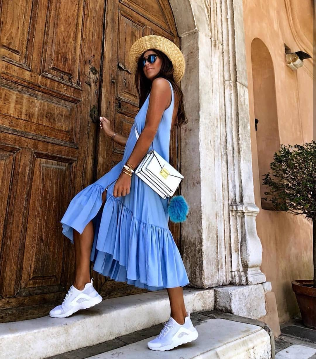 How To Wear Bright Blue Dress With White Sneakers This Summer 2019