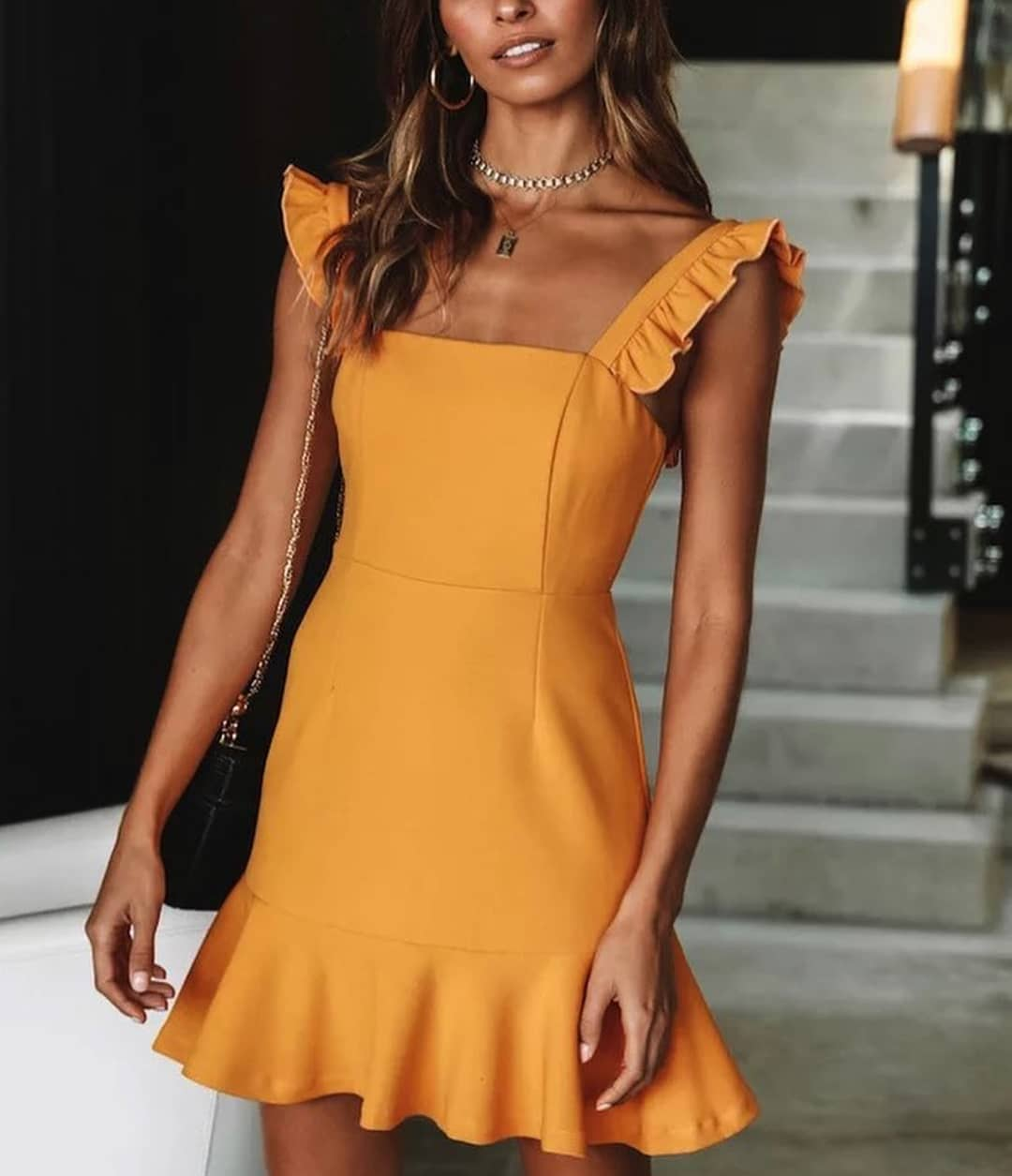 Orange Dress With Ruffled Straps For Summer Cocktail Parties 2019