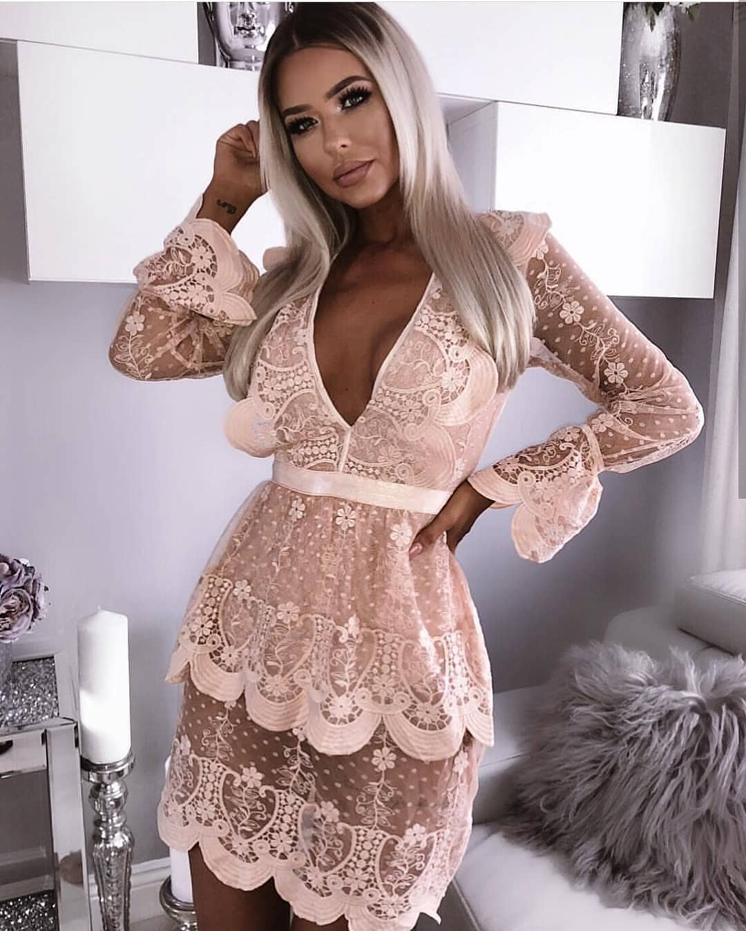 Deep V-neck Dress In Blush Semi Sheer Lace For Summer Cocktail Parties 2020