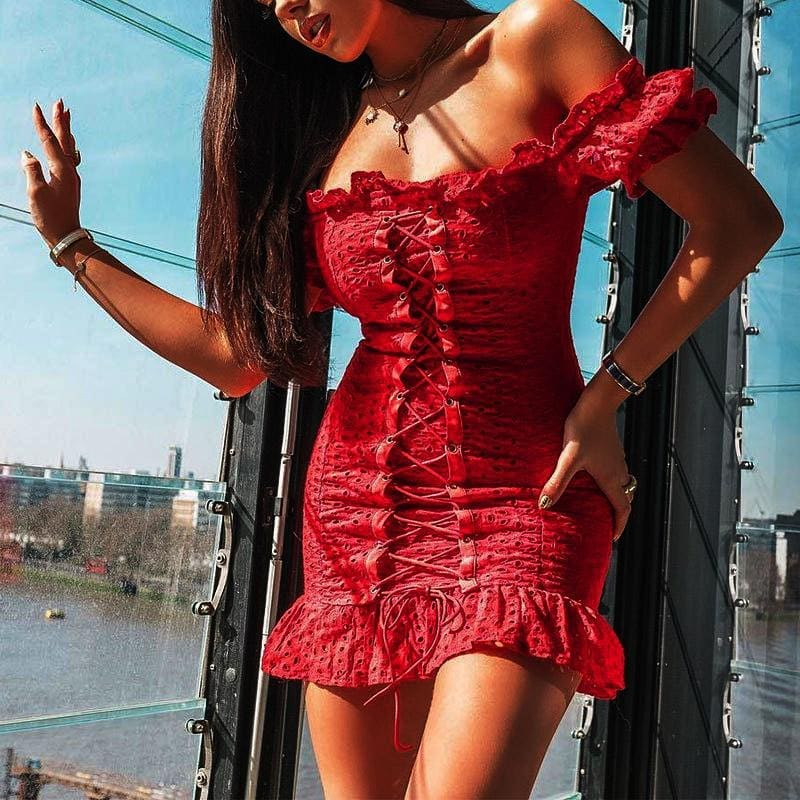 Off Shoulder Lace-up Corset Dress In Red For Summer 2020