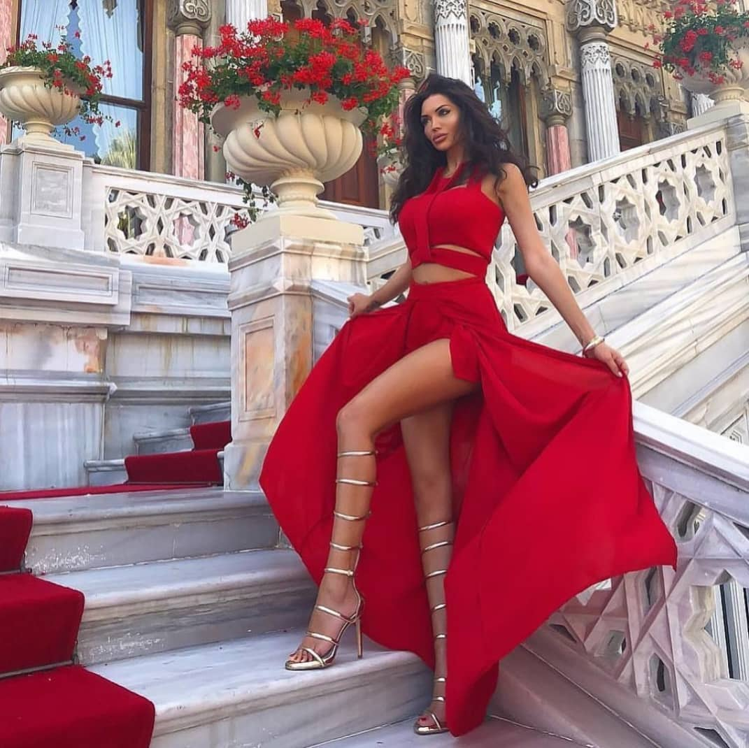 Two Piece Maxi Dress In Red For Summer Special Events 2019