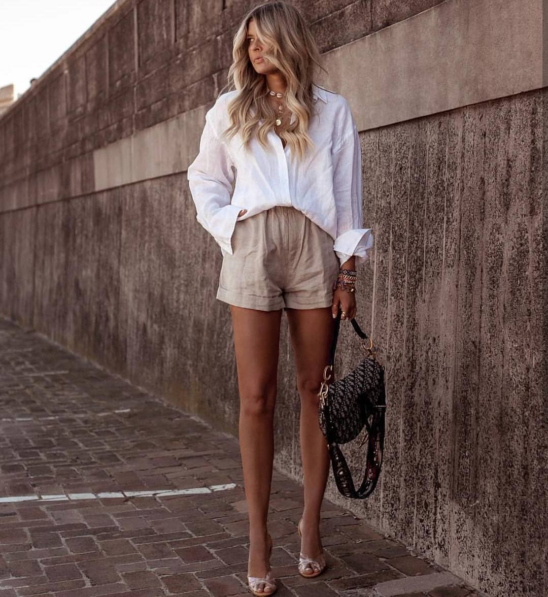 Oversized Shirt In White Tucked In Khaki Desert Shorts For Summer 2019